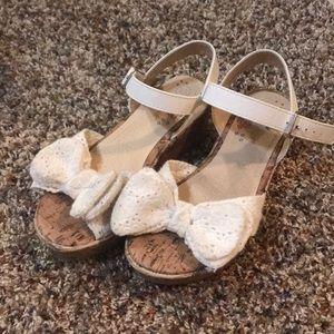 Cream crocheted sandal wedges